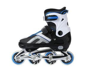 Modern inline roller skate on white background