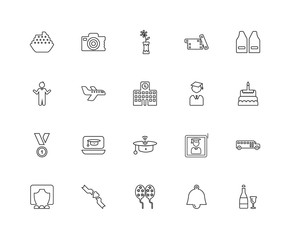 Collection of 20 Graduation and Education linear icons such as M