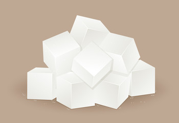 Many white sugar cube