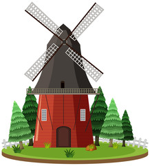 Isolated windmill on white background