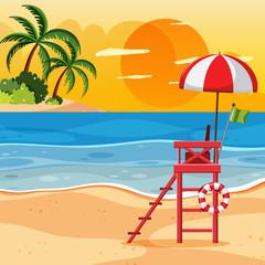 Summer beach sunset landscape