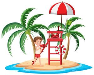 Isolated island with lifeguard