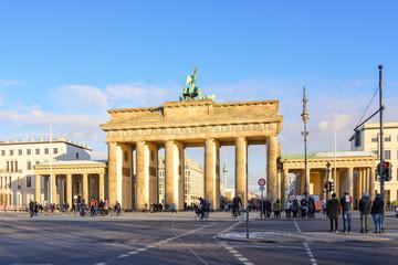 Outdoor scenery behind Brandenburg Tor, Brandenburg Gate, from Tiergarten in Berlin, Germany.