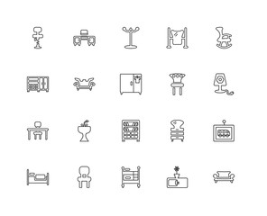 Collection of 20 Furniture Household linear icons such as Table