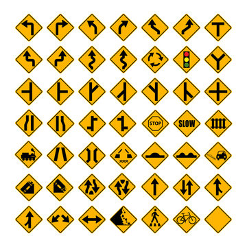 Standard Warning Traffic sign collection