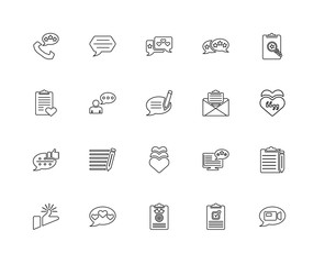 Collection of 20 feedback linear icons such as Chat, Video call,