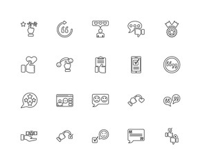 Collection of 20 feedback linear icons such as Rating, Testimoni