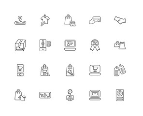 Collection of 20 Fashion and Commerce linear icons such as Smart