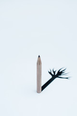 Single pencil with black root on white papers