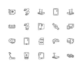 Collection of 20 electronic devices linear icons such as Setting