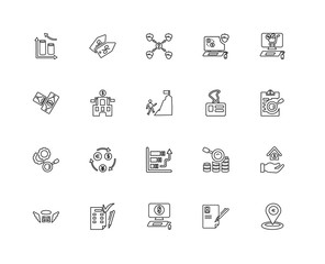 Collection of 20 economy and finance linear icons such as Resear