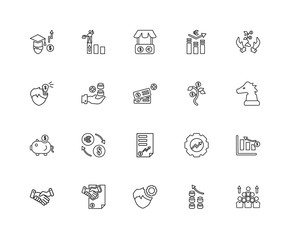 Collection of 20 economy and finance linear icons such as Saving