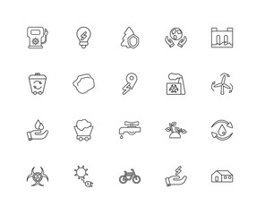 Collection of 20 Ecology linear icons such as Save water, home,