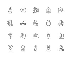 Collection of 20 elearning linear icons such as Research, Readin