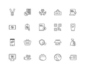 Collection of 20 ecommerce linear icons such as Smartphone, Wall