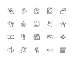 Collection of 20 discotheque linear icons such as Ticket, Contro
