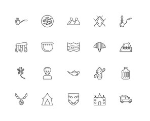 Collection of 20 desert linear icons such as Scorpion, Bus, Mosq