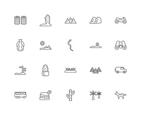 Collection of 20 desert linear icons such as, Horse, Palm, Map,