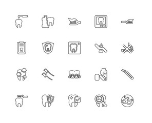 Collection of 20 dentist linear icons such as Teeth, Virus, Toot