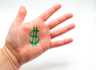 Caucasian female hand with a green dollar sign drawn in the palm isolated on white