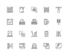 Collection of 20 Creative pocess linear icons such as Laptop, Cu