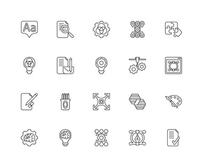 Collection of 20 Creative pocess linear icons such as Sketch, Re