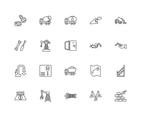 Collection of 20 construction linear icons such as Constructing