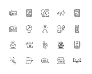 Collection of 20 Communication linear icons such as Smartphone,