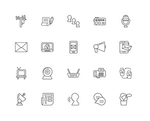 Collection of 20 Communication linear icons such as Speaking, Ch