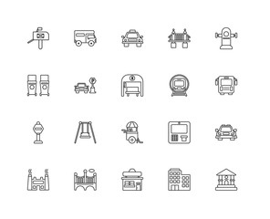 Collection of 20 city elements linear icons such as Stop, Museum