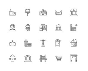 Collection of 20 city elements linear icons such as Cementery, A