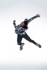 Cool young break dancer isolated on white background