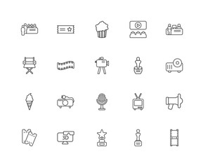 Collection of 20 Cinema linear icons such as Film Strip, Monumen