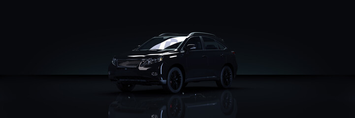 Black luxury car on dark background