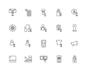 Collection of 20 charity linear icons such as Woman, Donation, D