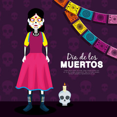 catrina and skull with candle to day of the dead event