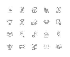 Collection of 20 charity linear icons such as Happy Kids, People