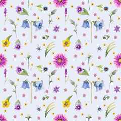 Wild flowers background. Seamless pattern. Wild flowers background Watercolor.