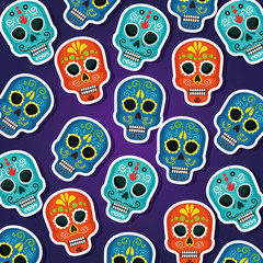 skulls background to dead of the dead event