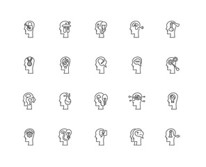 Collection of 20 Brain process linear icons such as Idea, Succes