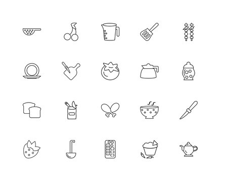 Collection of 20 bistro and restaurant linear icons such as Vint