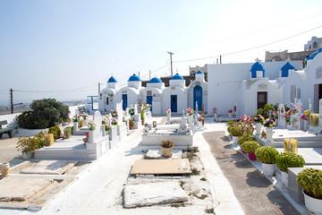Cemetery on Santorini. Orthodox cemetery in Santorini island, Greece.