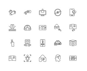 Collection of 20 Augmented Reality linear icons such as Tap, Con