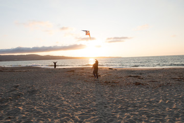 Flying Acrobatic Kite at Sunset, Backlit, Fort Ord Dunes State Park, Monterey, California
