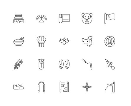Collection of 20 Asian linear icons such as Spike, Rope, Shurike