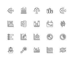 Collection of 20 Analytics linear icons such as Analytics, Line