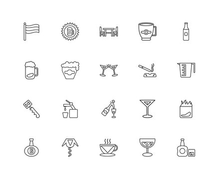 Collection of 20 Alcohol linear icons such as Bottle opener, Whi