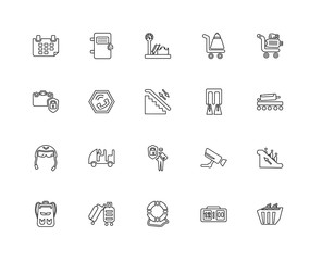 Collection of 20 Airport terminal linear icons such as Duty Free