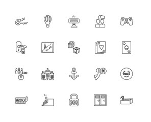 Collection of 20 Accommodation linear icons such as Bowling, Swi