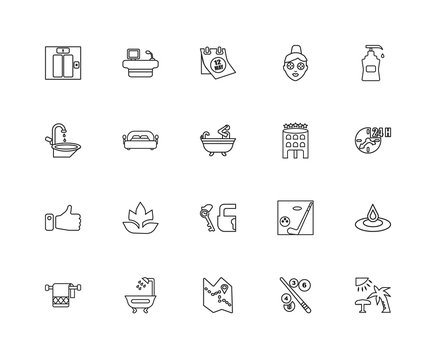 Collection of 20 Accommodation linear icons such as Like, Beach